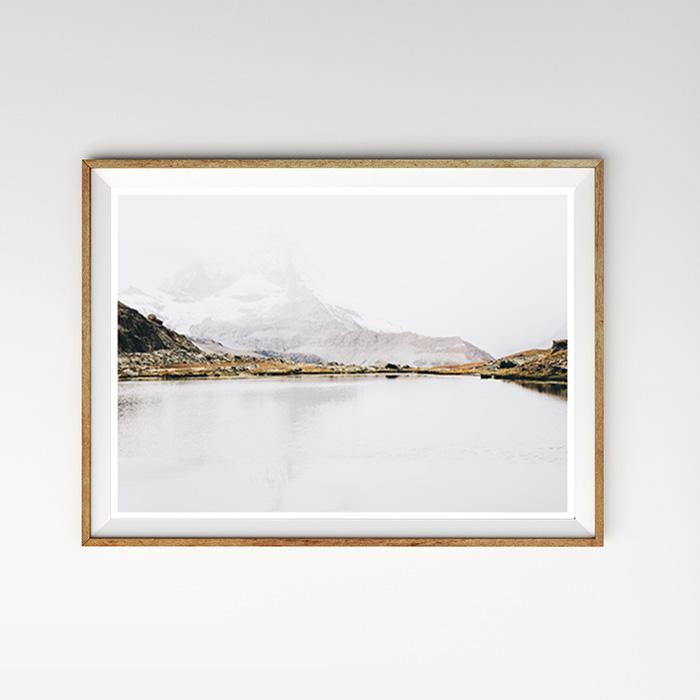 画像1: Mountain Snow Lake 雪山と湖 自然 ポスター (1)