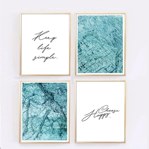 画像1: Blue Ocean Marble オーシャンマーブル  アートポスター (4枚セット) (1)