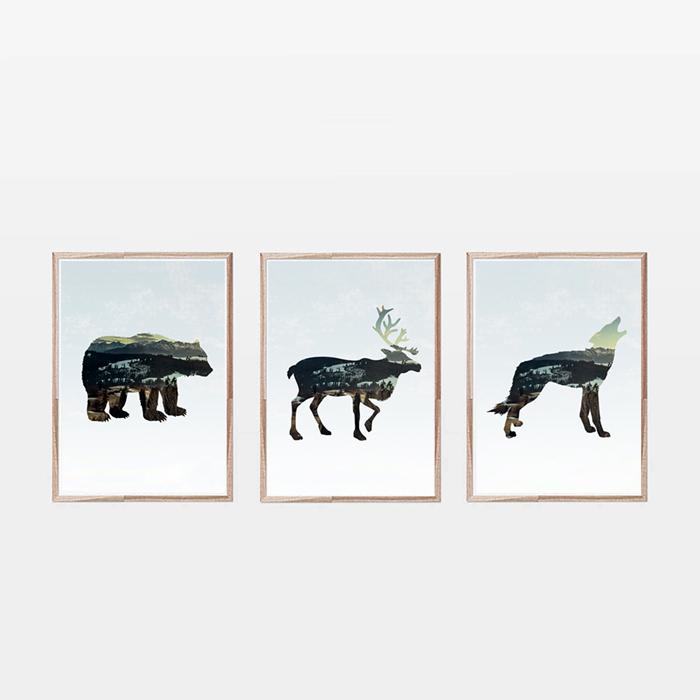 画像1: カリフォルニア Animals アニマル アートポスター (3枚組) (1)