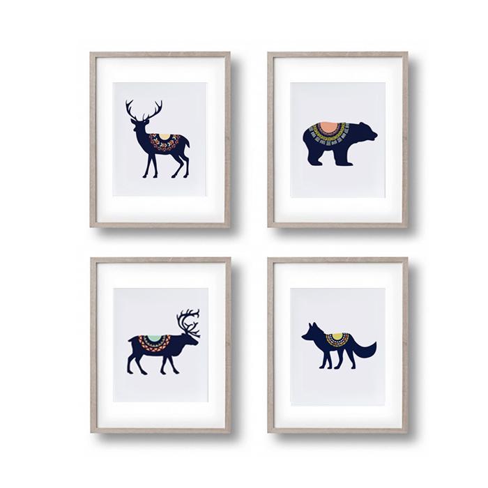 画像1: CALIFORNIA STYLE アニマル 動物 アートポスター  (4枚組) (1)