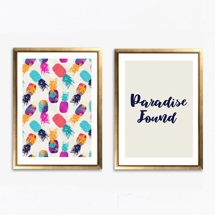 画像1: PARADISE FOUND パイナップル アート ポスター 2枚セット (1)