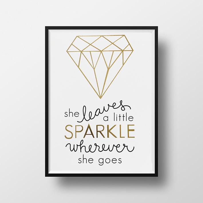 画像1: 『She SPARKLE Whereever』名言 Gold Foil ポスター(額縁付き) (1)