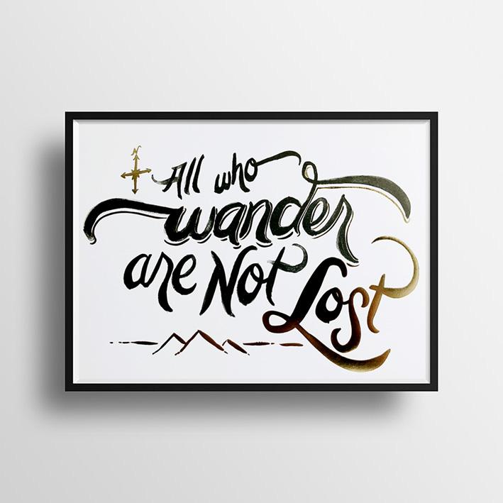 画像1: 『All who wander are not Lost』名言ポスター(額縁付き) (1)