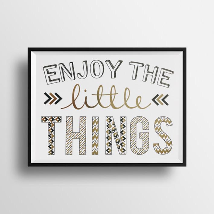 画像1: 『Enjoy the little things』名言 Gold Foil ポスター(額縁付き) (1)