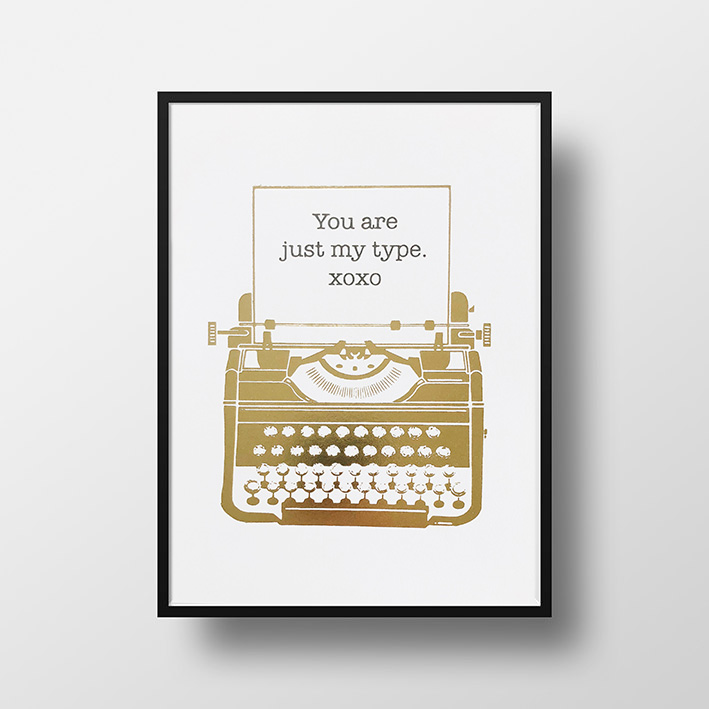 画像1: 『You are just my Type, xoxo』名言 Gold Foil ポスター(額縁付き) (1)