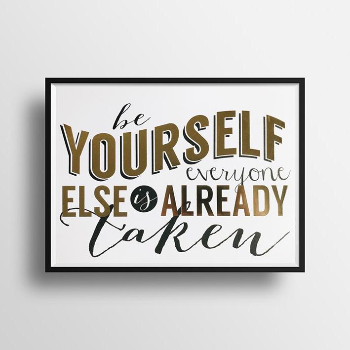 画像1: 『Be Yourself』名言 Gold Foil ポスター(額縁付き) (1)