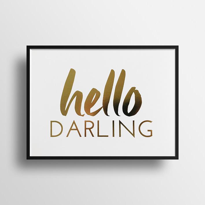 画像1: Hello Darling GOLD FOILおしゃれポスター(額縁付き) (1)