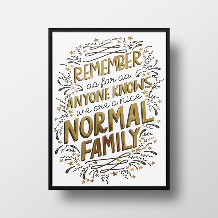 画像1: Normal Family ゴールドフォイル ポスター(額縁付き) (1)