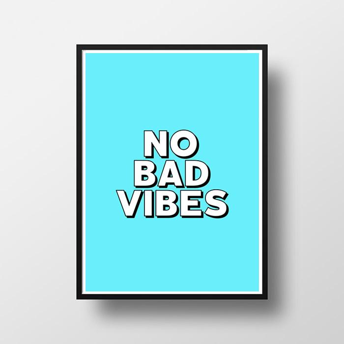 """画像1: """"NO BAD VIBES"""" ポスター (全2色) (1)"""