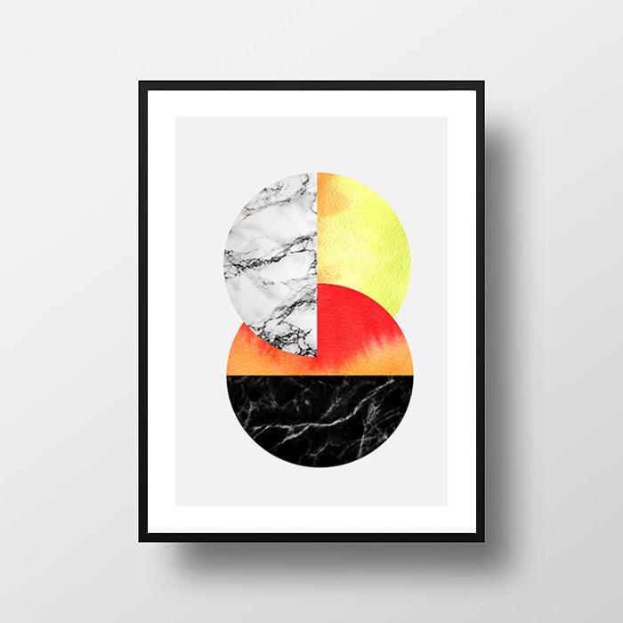 画像1: 和風 Modern Geometric ジオメトリック サークル ポスター (1)