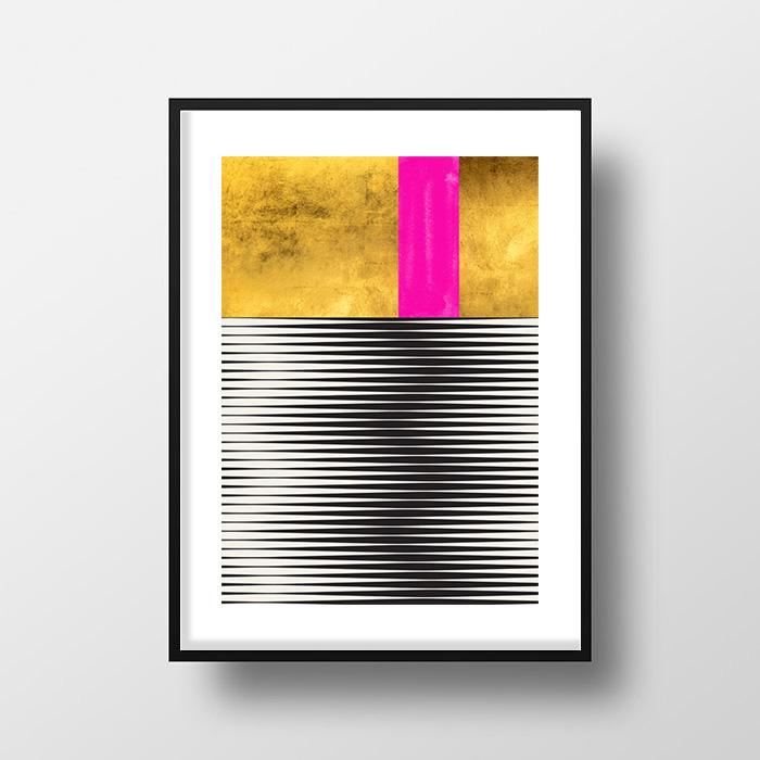 画像1: Stylish モダン Geometric Stripes ポスター(ピンク) (1)