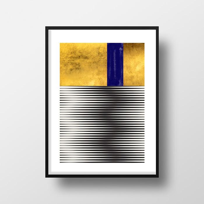 画像1: Stylish モダン インディゴ Geometric Stripes ポスター(インディゴ) (1)