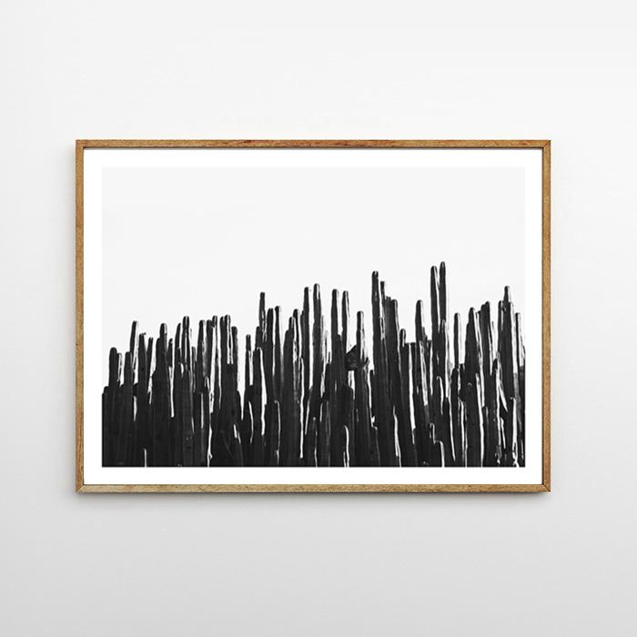 画像1: インテリア DESERT LIFE - CACTUS モノトーン おしゃれポスター (1)