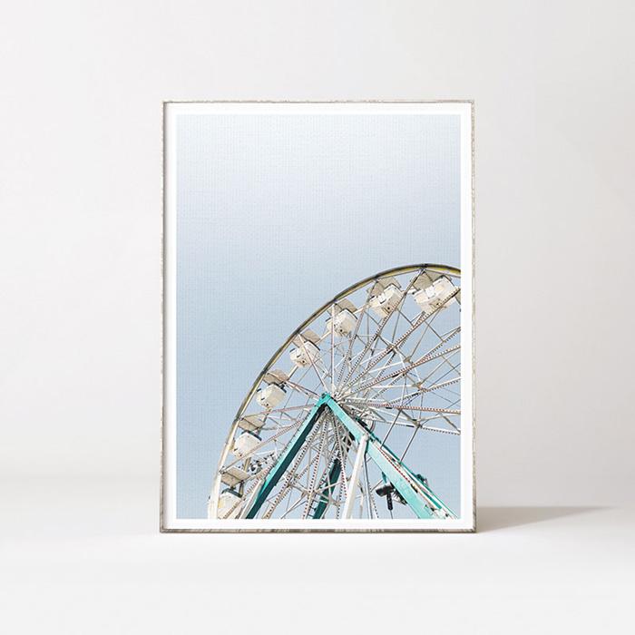 画像1: Ferris wheel 観覧車 IN BLUE SKY おしゃれポスター (1)
