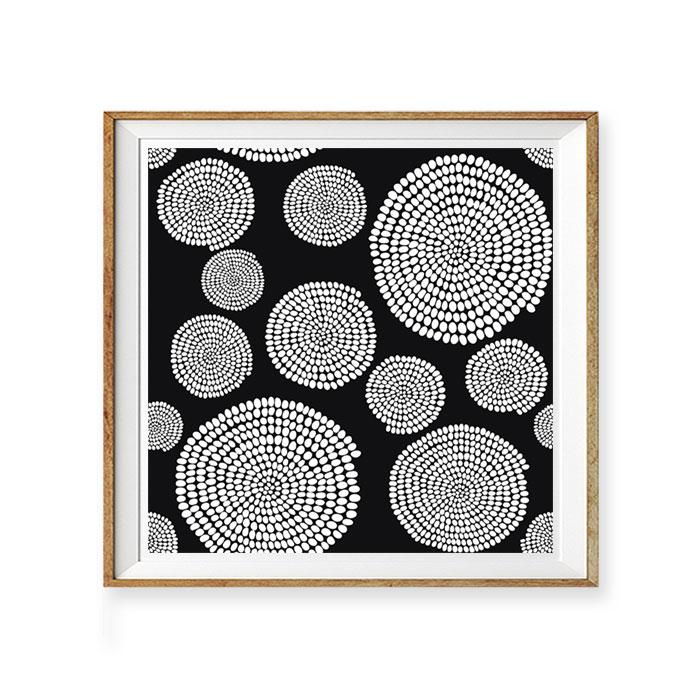 画像1: 和モダン Modern Circle Dots モノトーン ポスター (1)