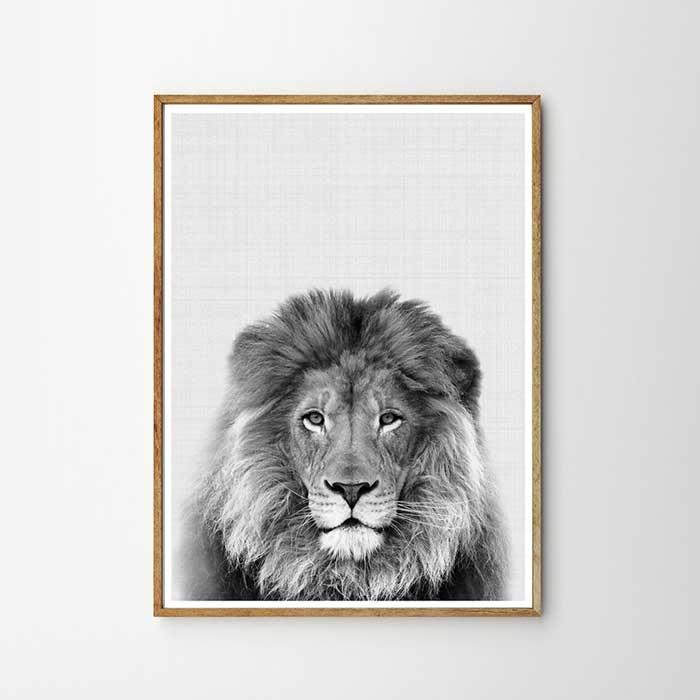 画像1: ライオン ★ アニマル モノトーン アートポスター (1)