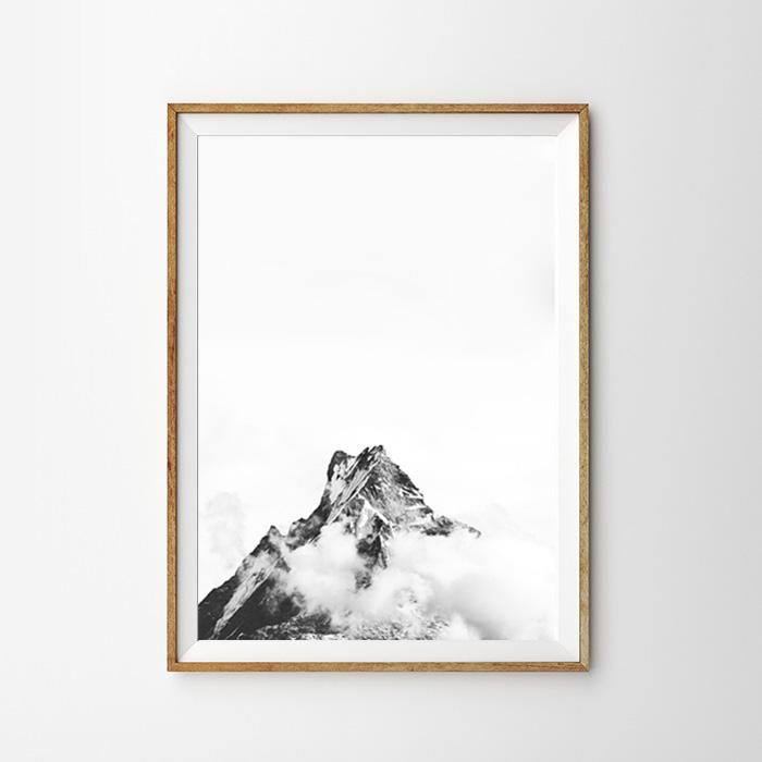 画像1: Mountain Snow 雪山モノトーン 自然 ポスター (1)