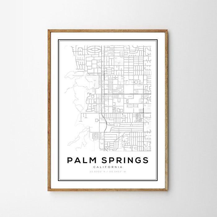 画像1: PALM SPRINGS パームスプリングス MAP マップ ポスター (1)