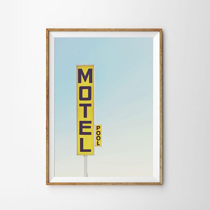 画像1: MOTEL 看板 モーテル ホテル おしゃれポスター  (1)