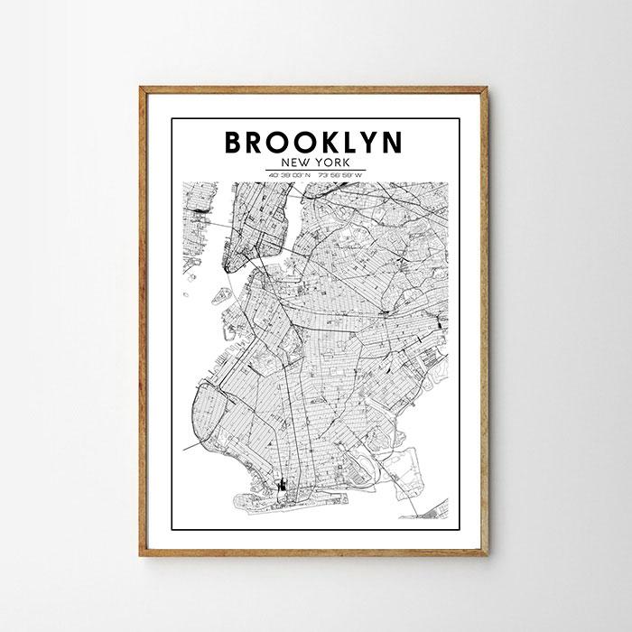 画像1: BROOKLYN NY ブルックリン MAP マップ ポスター (1)