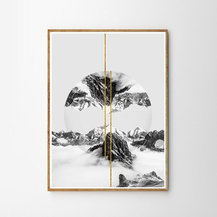 画像1: MOUNTAIN リフレクション GOLD LINE ポスター  (1)