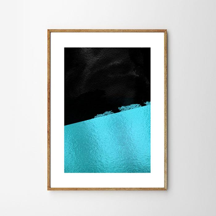 画像1: Two Tone Blue Foiled モダン ポスター (1)