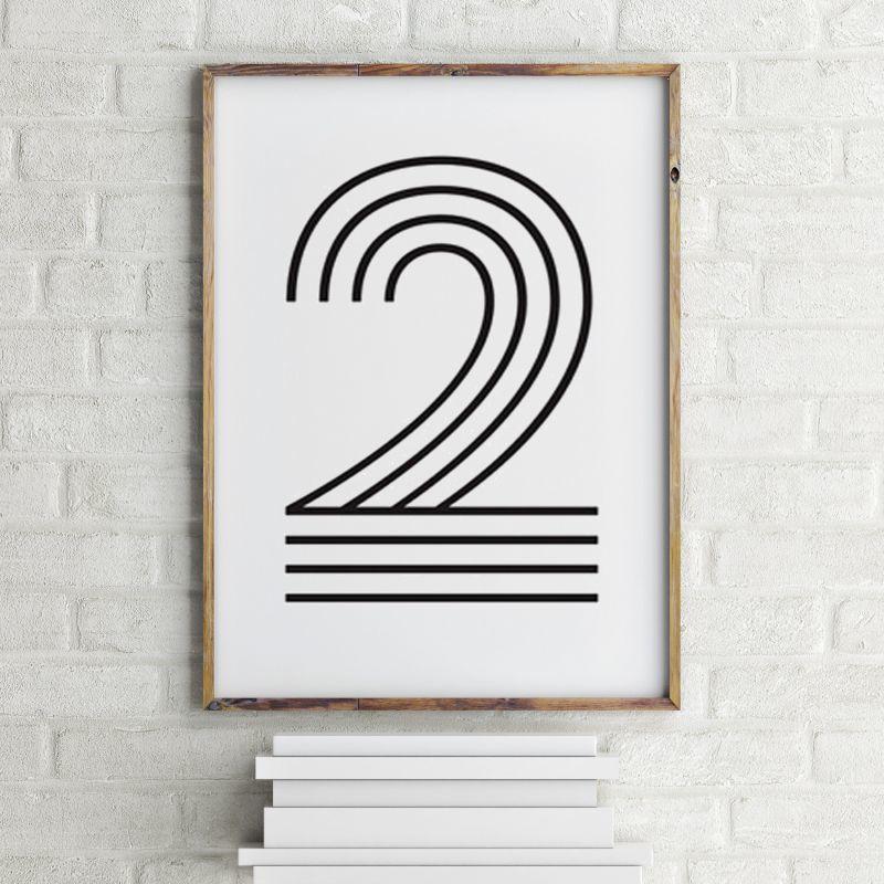 画像1: Number 2 ナンバー Typography タイフォグラフィー アートポスター (1)