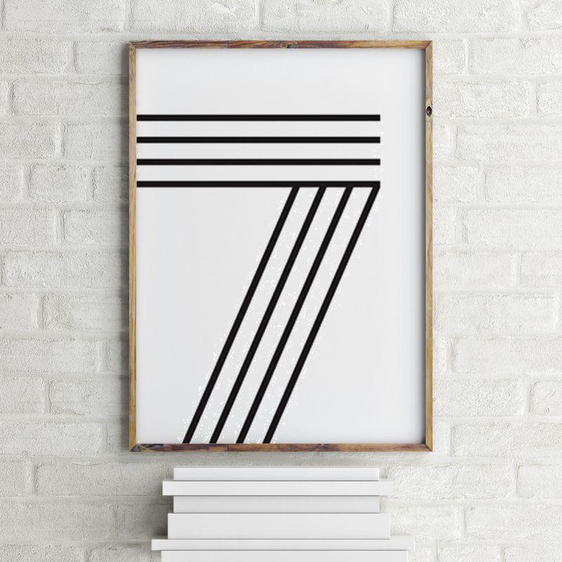 画像1: Number 7 ナンバー Typography タイフォグラフィー アートポスター (1)