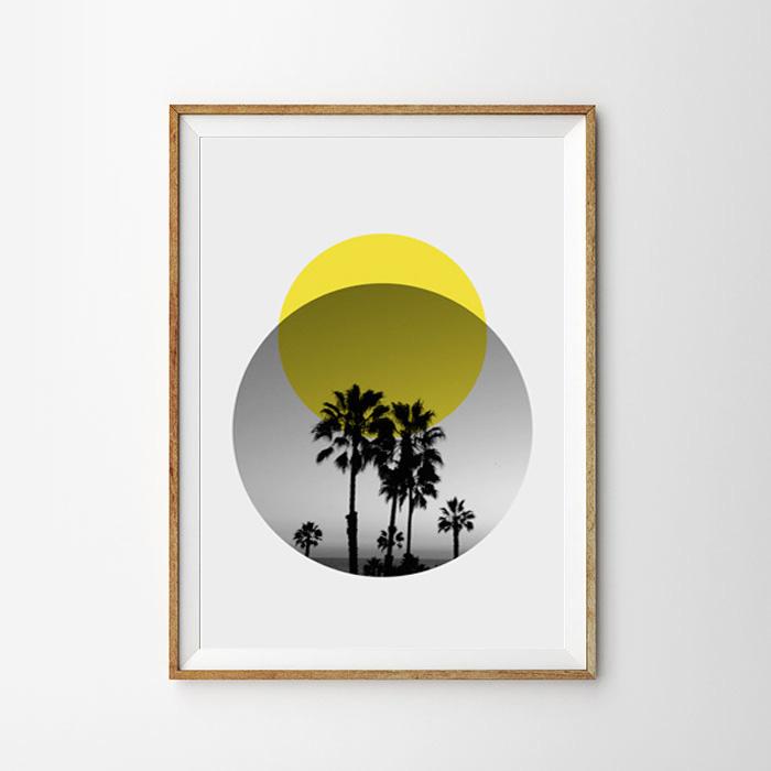 画像1: Midnight Moon Palm Tree 『真夜中のパームツリーと満月』Circle ポスター (1)