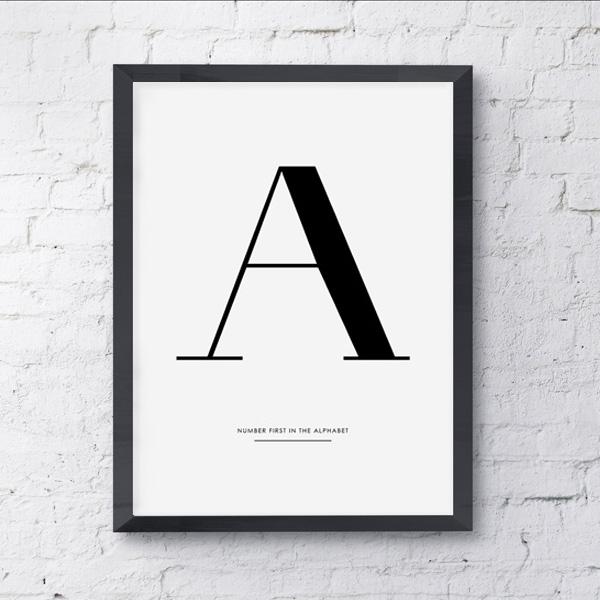 画像1: Alphabet アルファベット A to Z イニシャル モダンアート ポスター (1)