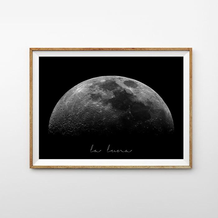 """画像1: """"La Luna"""" Moon お月さま おしゃれモノトーン アート ポスター (1)"""