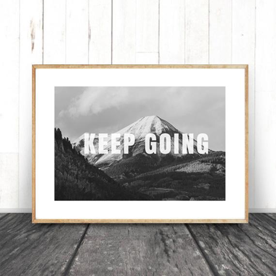 画像1: KEEP GOING MOUNTAIN モノトーン ポスター (1)