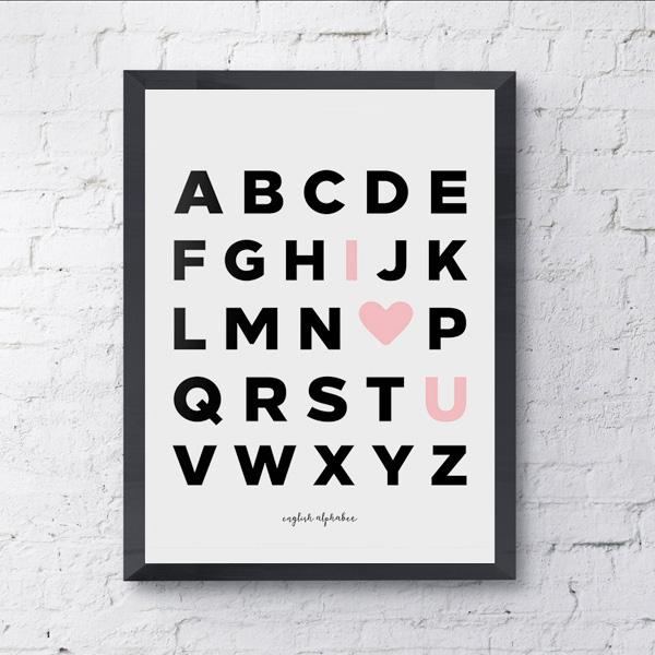 画像1: アルファベット I LOVE U アートポスター (1)