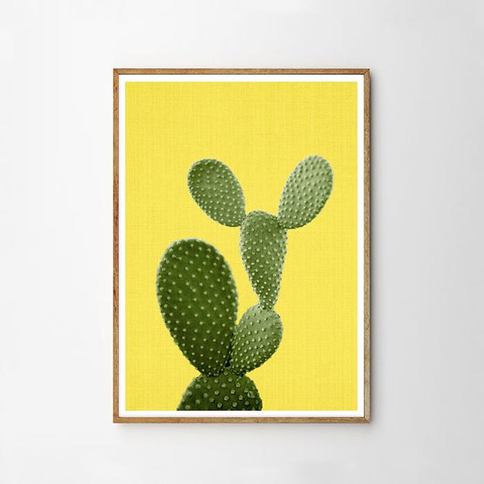画像1: サボテン Cactus YELLOW background アートポスター (1)