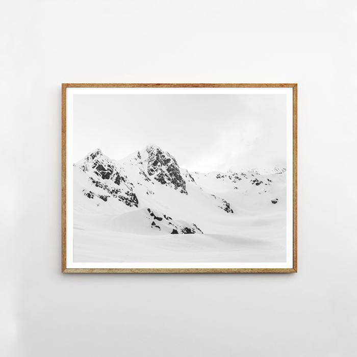 画像1: SNOW MOUNTAIN 雪山 モノトーン ポスター (1)