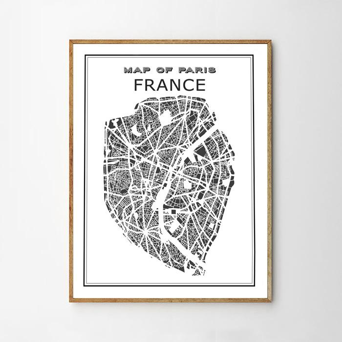 画像1: フランス Map パリ地図 ポスター (1)