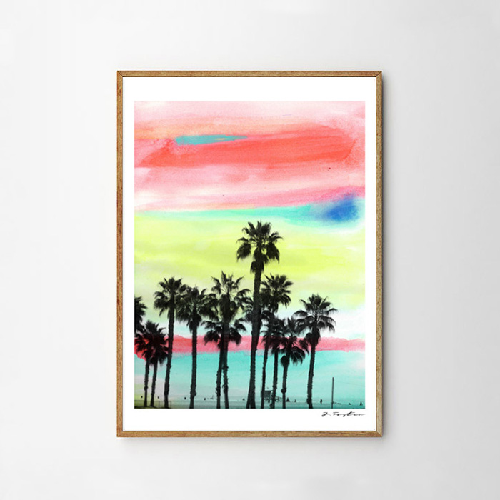 画像1: サンタモニカビーチ Water Color ポスター (1)