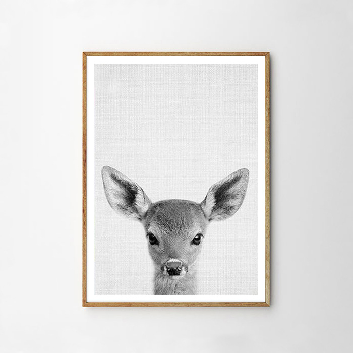 画像1: バンビ Bambi ★ アニマル モノクロ アートポスター (1)