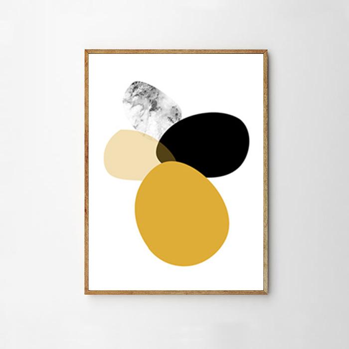 画像1: 北欧アート  イレギュラーサークル おしゃれポスター (マスタード) (1)