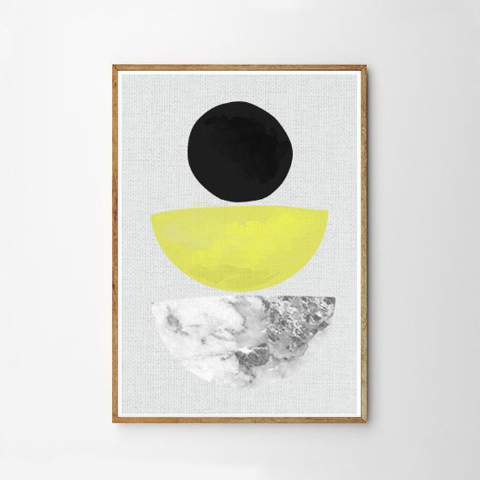 画像1: Half Circle Geometric ジオメトリック アートポスター (1)