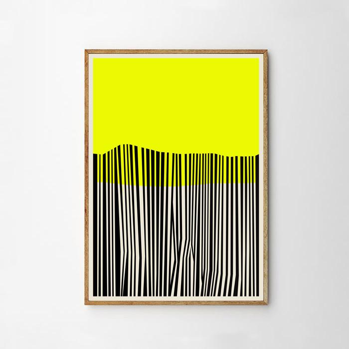画像1: NORDIC Black Yellow ミッドセンチュリー ポスター (1)