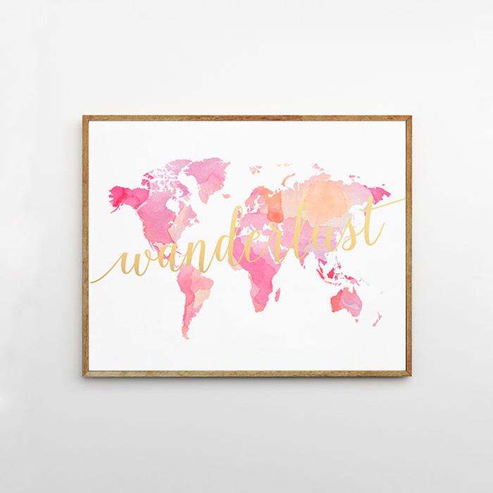 画像1: Watercolor  世界地図 ART ポスター (1)