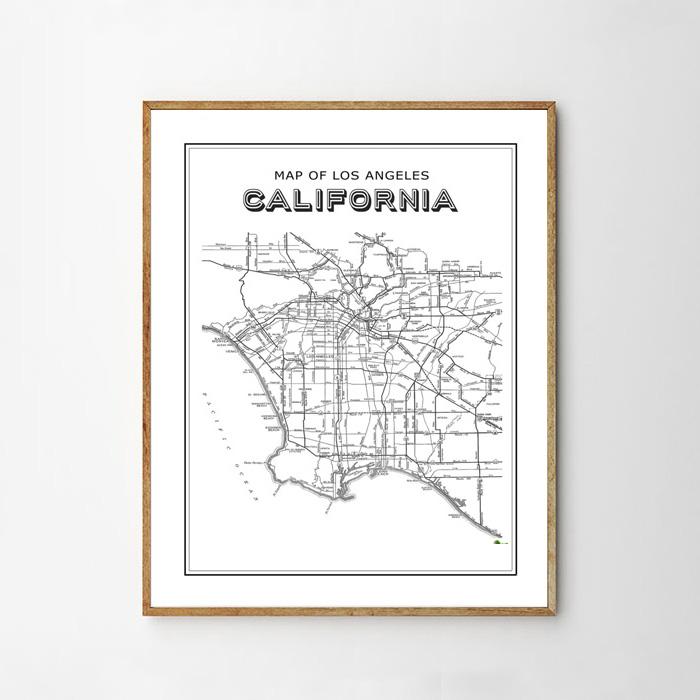 画像1: CALIFORNIA カリフォルニア 西海岸地図 ポスター (1)