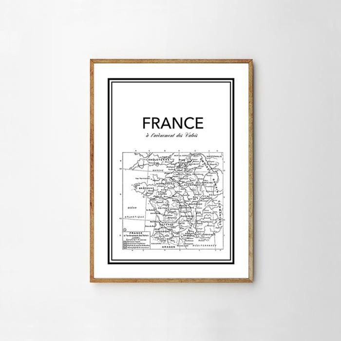 画像1: FRANCE フランス Vintage Map (1928) ヴィンテージマップ ポスター (1)