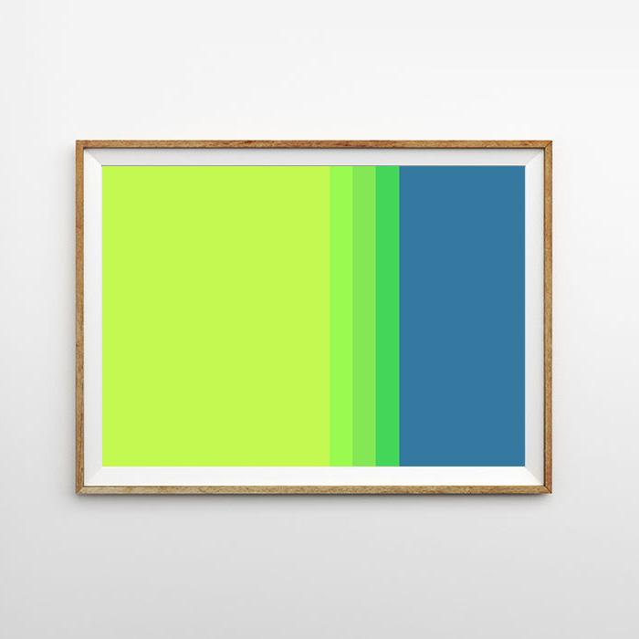 画像1: Yellow & Blue MIX ライン ポスター (1)