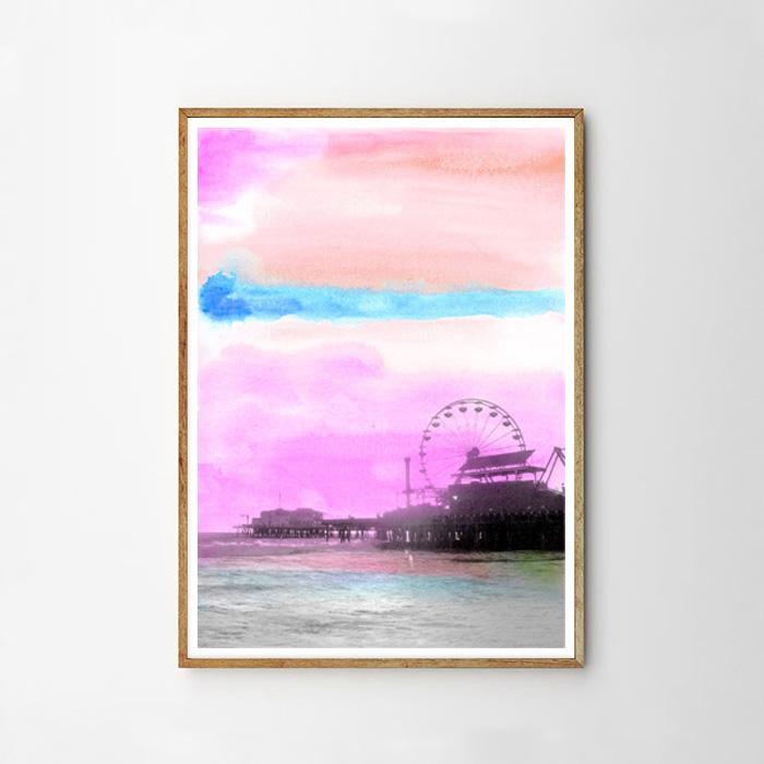 画像1: カリフォルニア州 サンタモニカ 『夕暮れのピア』Water Color ポスター (1)