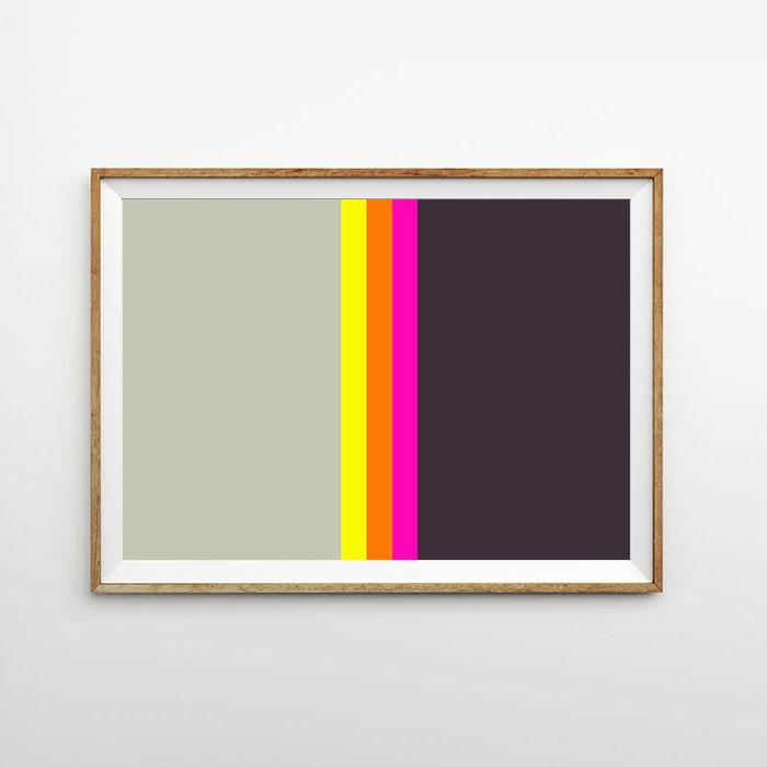 画像1: Gray & Pink Black MIX ライン ポスター (1)