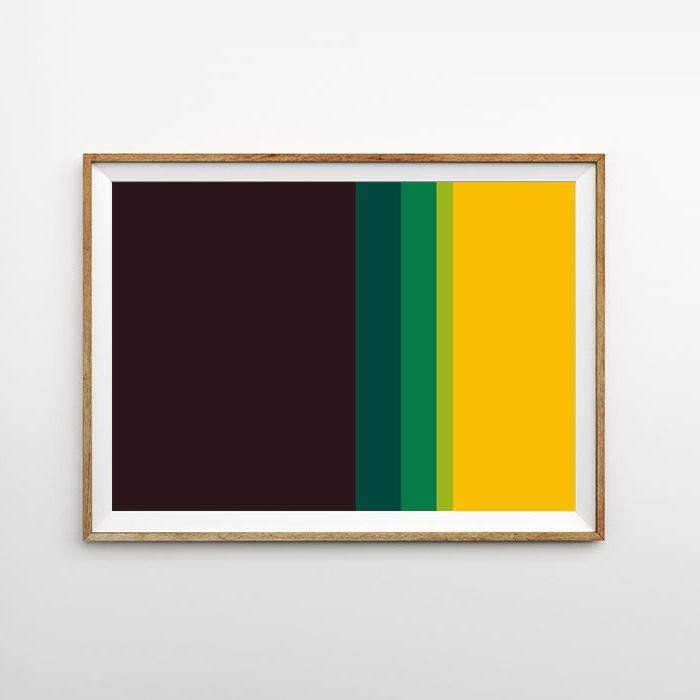 画像1: Black & Green Yellow  MIX ライン ポスター (1)
