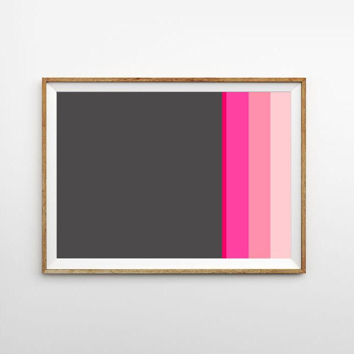 画像1: Gray & Bright Pink MIX ライン ポスター (1)