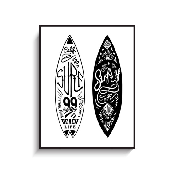 画像1: CALIFORNIA カリフォルニア サーフボード  モノトーン アートポスター (1)